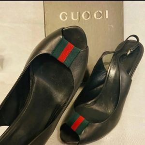 Authentic Gucci sandals sling peep toe shoes